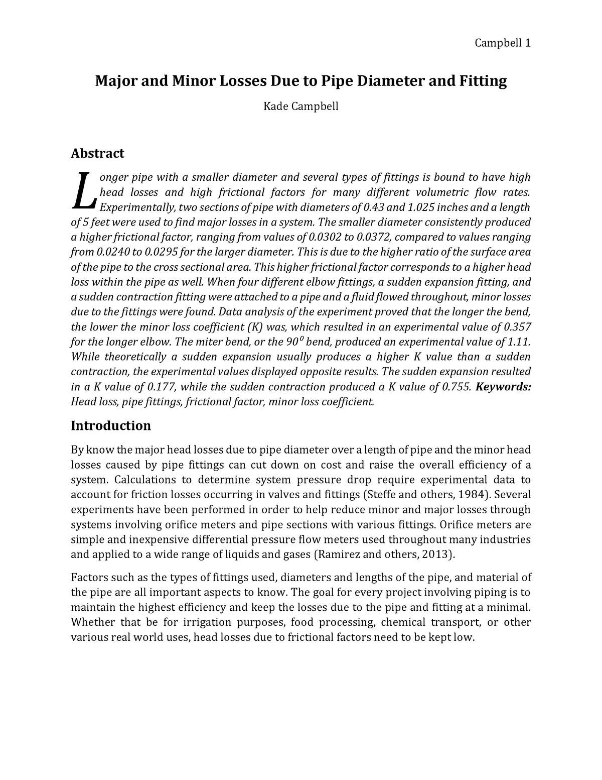 Example Lab Report - Losses - CIVL2310 Fluid Mechanics - UoN