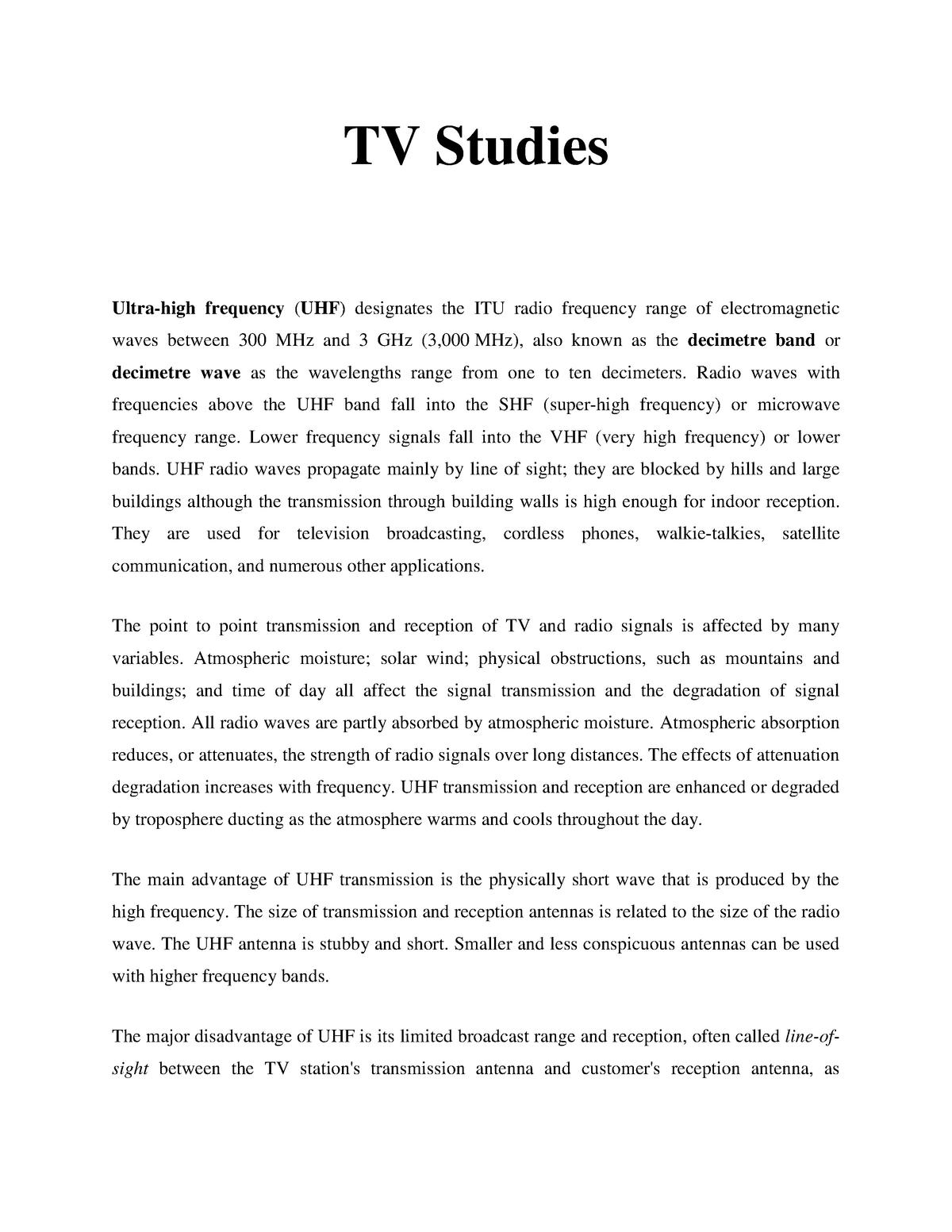TV studies - Lecture notes 9 - Radio And Television - StuDocu