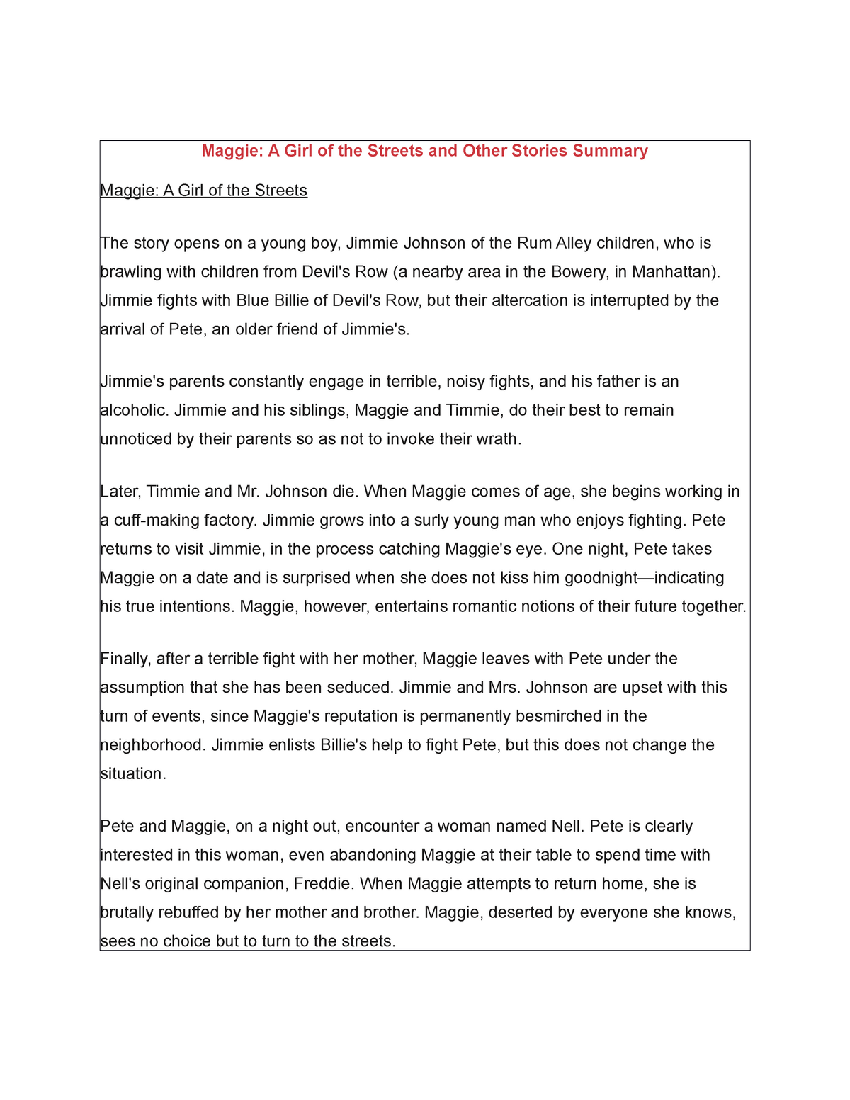 Maggie A Girl of the Streets and Other Stories Summary - StuDocu