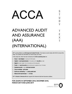 BPP Study text 2018-2019 - Audit and Assurance - StuDocu