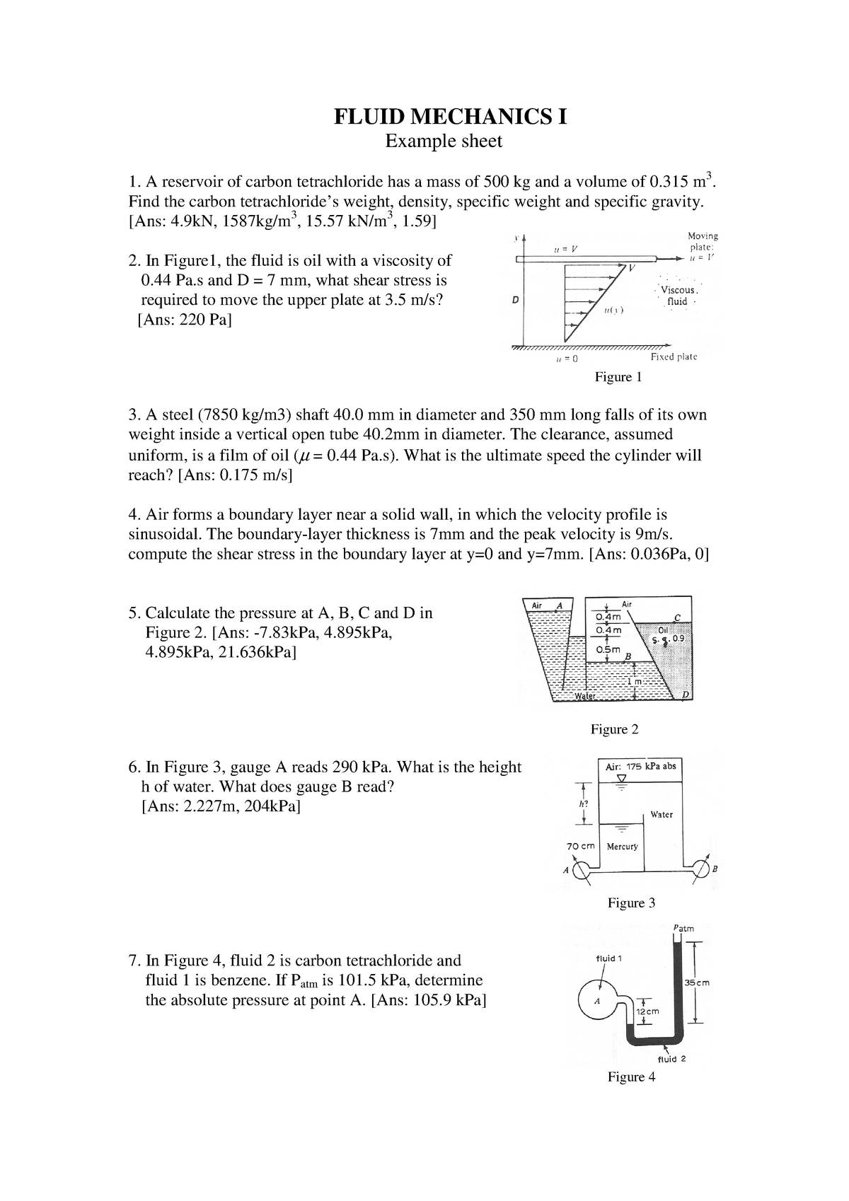 Example Sheet A - Fluid Mechanics I EGA117 - Swansea - StuDocu