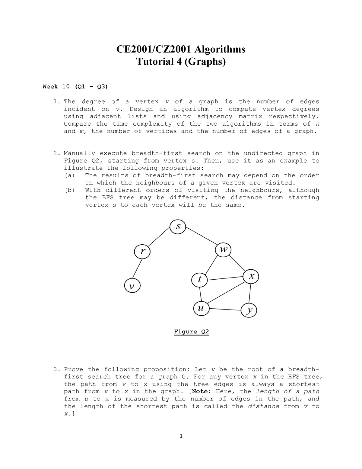 Tutorial 4 (Sorting) - CZ2001: Algorithms - StuDocu