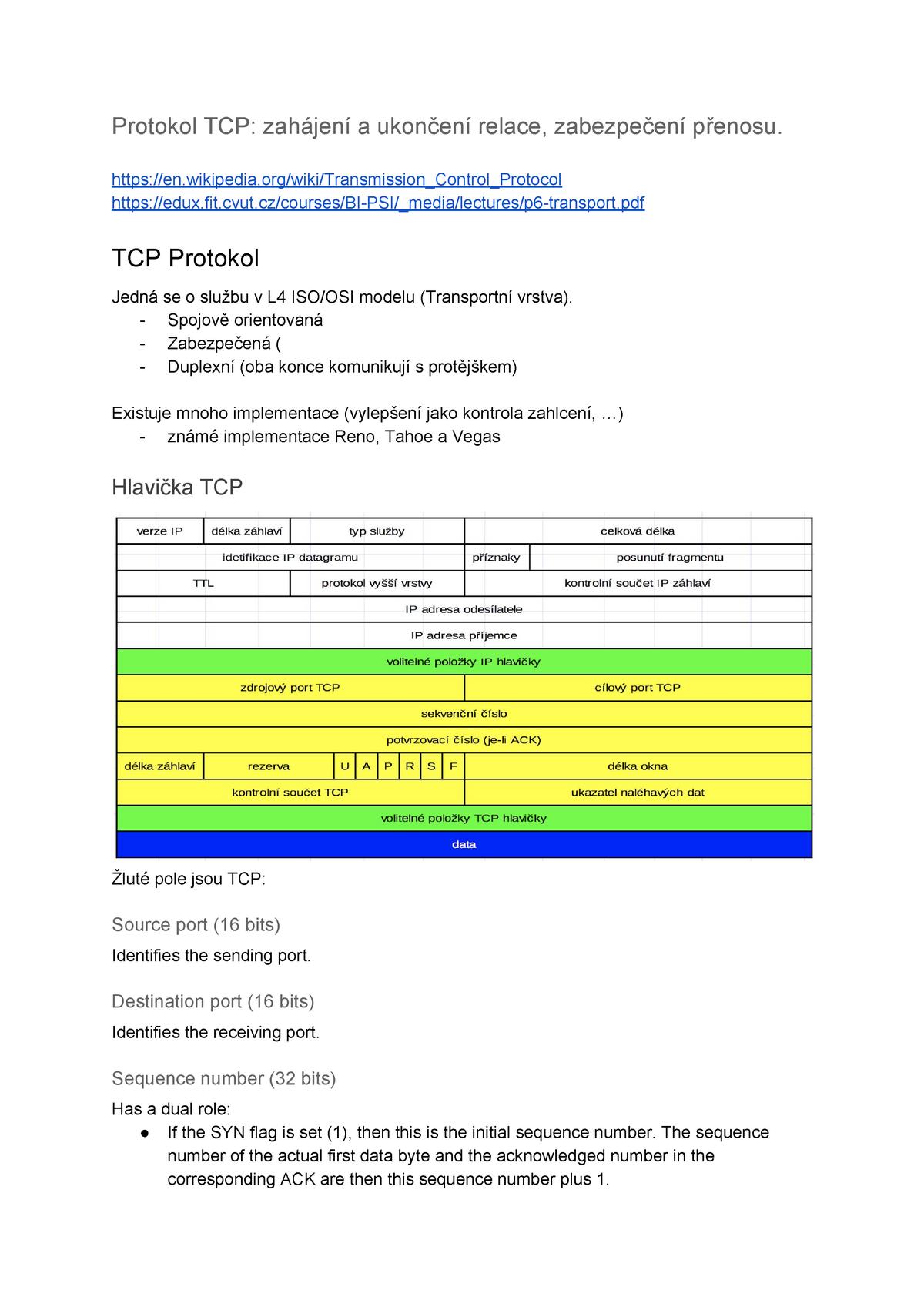 PSI - TCP protokol - Počítačové sítě BI-PSI - StuDocu