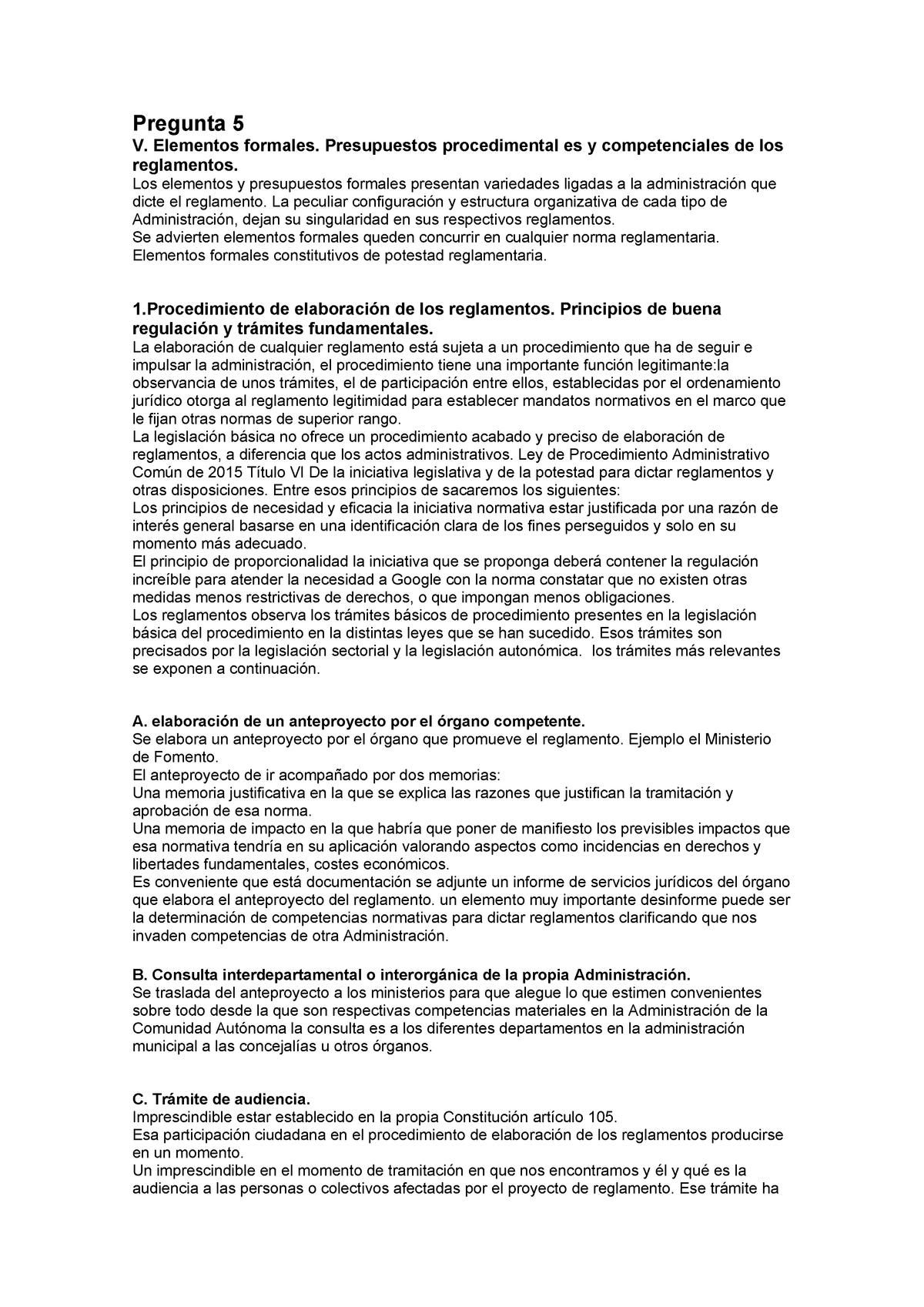 Pregunta 5 Tema De Derecho Administrativo Segundo Curso