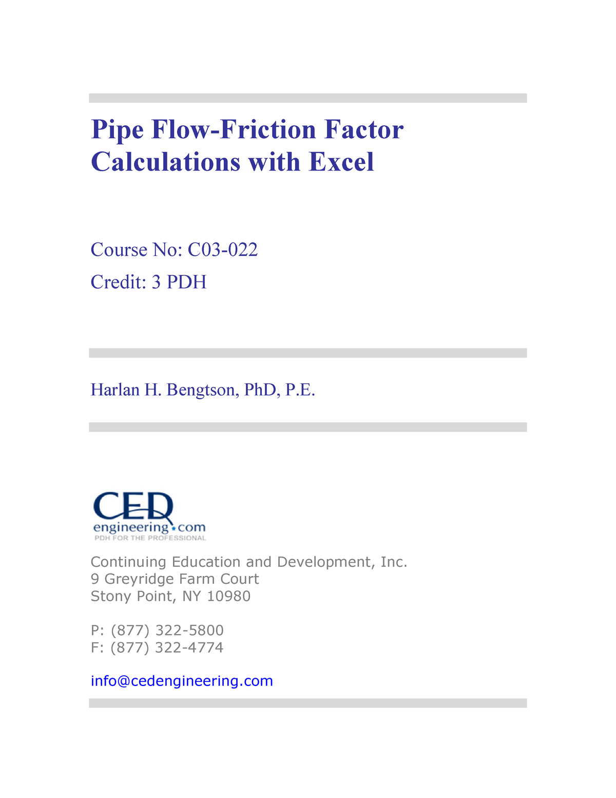 Pipe Flow-Friction Factor Calculations with Excel - 4020
