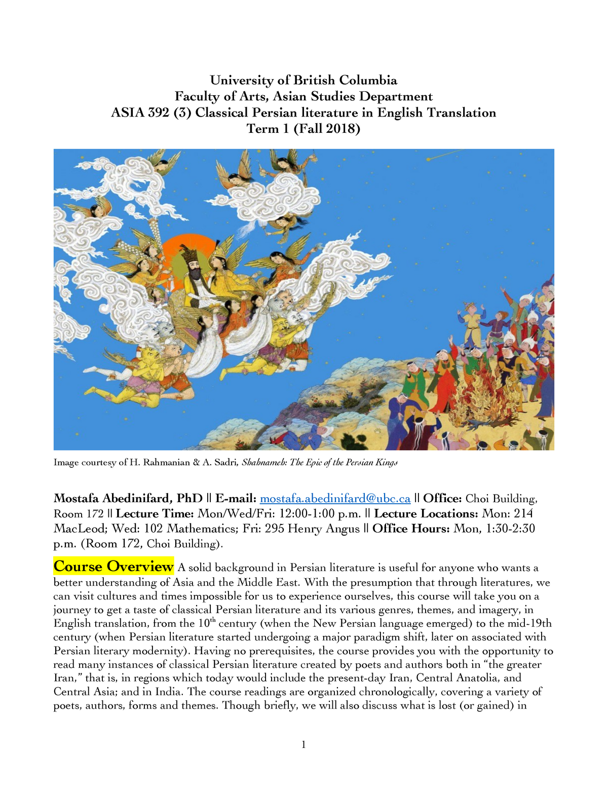 Syllabus ASIA 392 - Lecture notes 1-14 - ASIA 392: Classical Persian