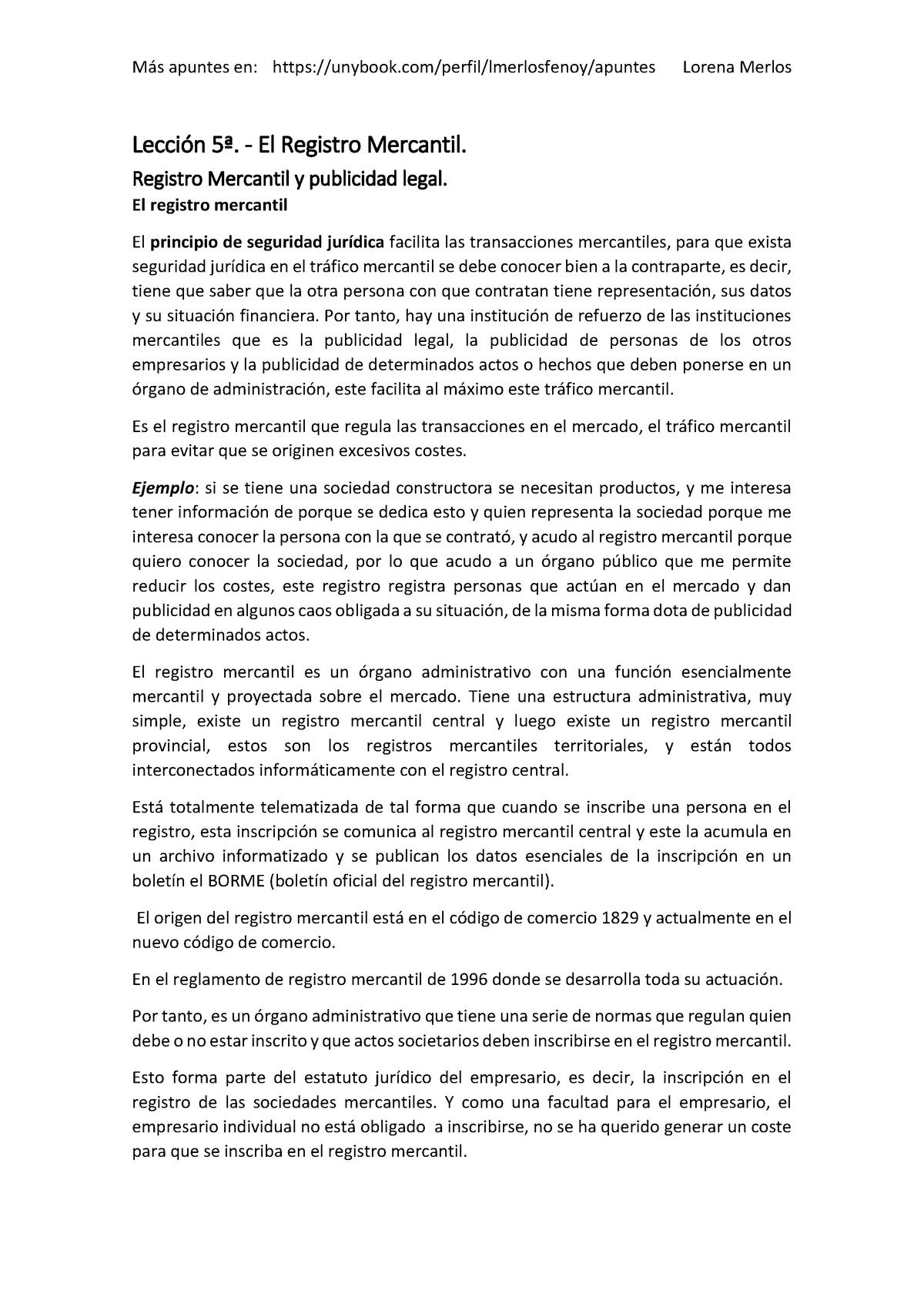 Leccion 5 El Registro Mercantil Derecho De Empresa Ub