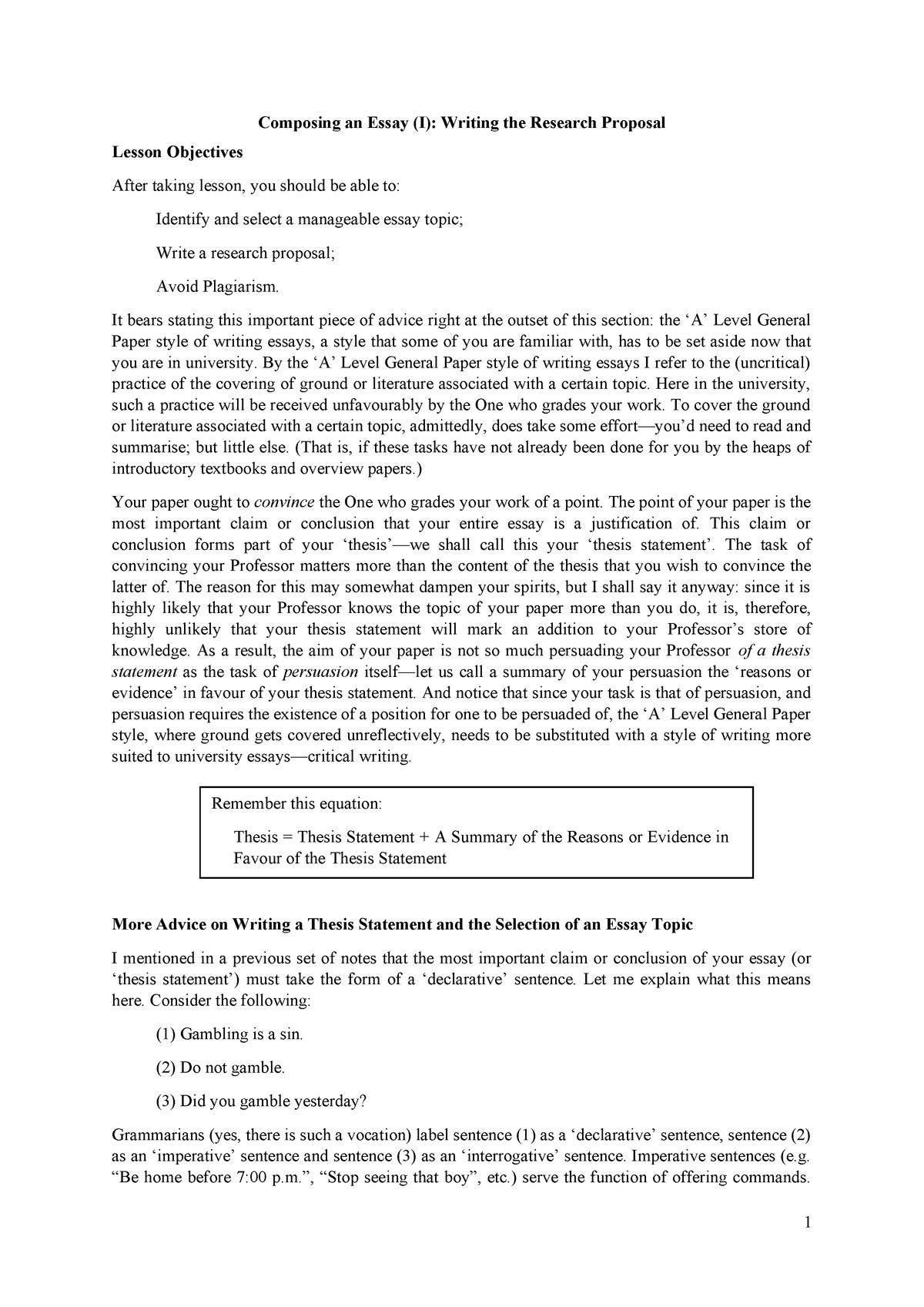 Wk 3 -Composing an Essay (I)