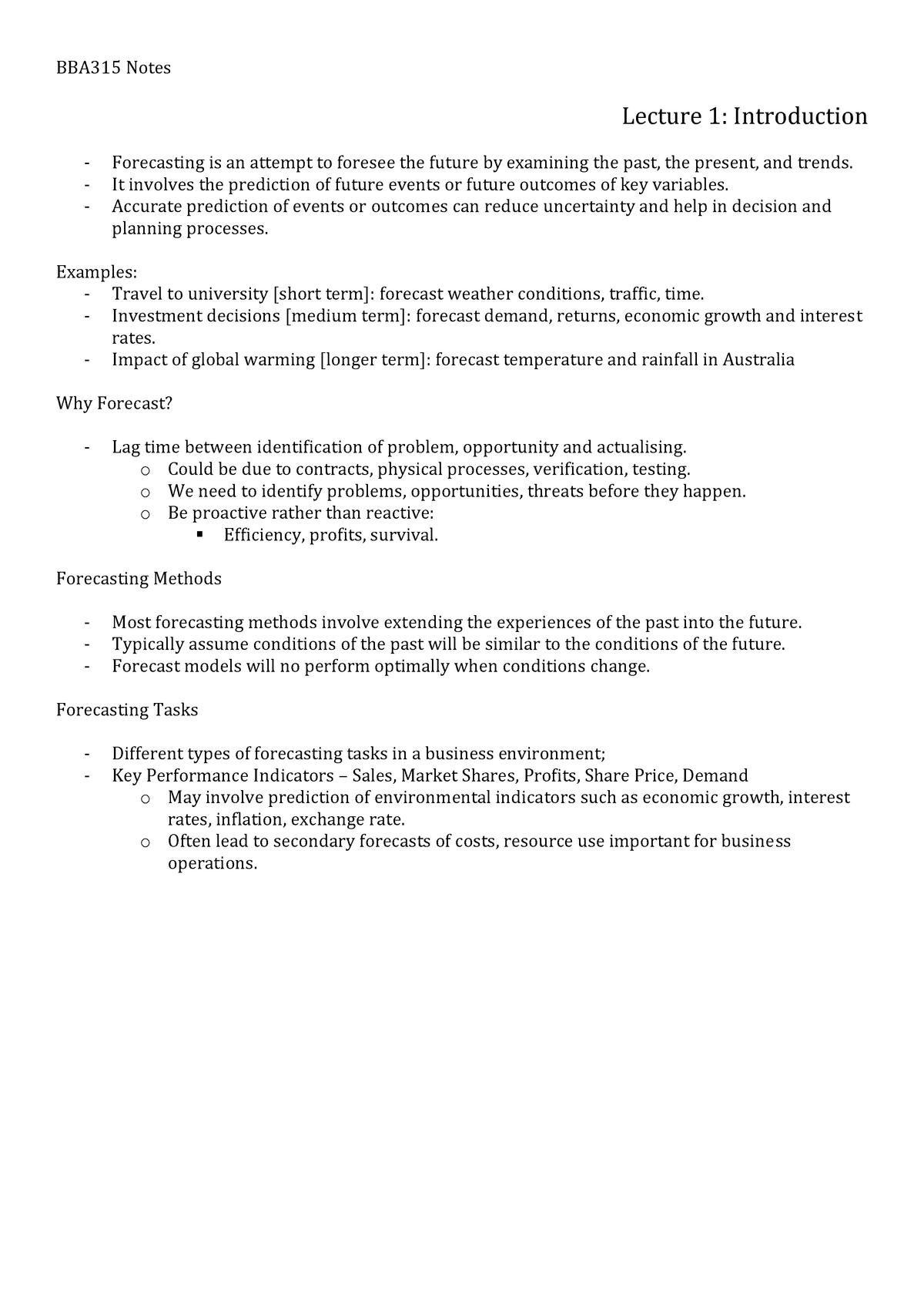 BBA315 Notes - BBA315: Business Forecasting - StuDocu