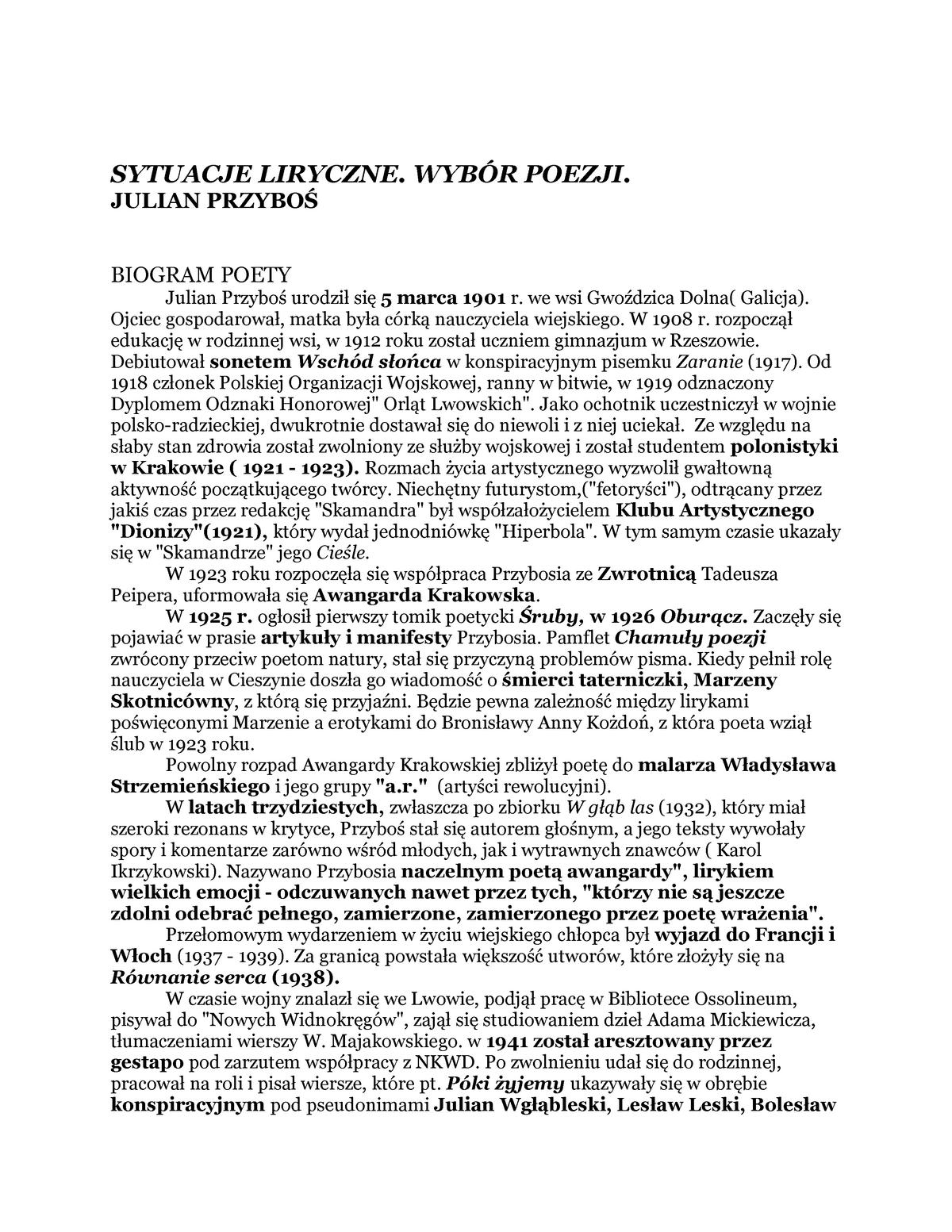 Przyboś Sytuacje Liryczne Filologia Polska Uwm Studocu