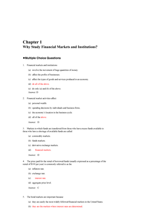Test Bank 2doc Multiple Choice And True And False Questions Chapter Why Study Financial Markets And Institutions Multiple Choice Questions Financial Markets Studocu