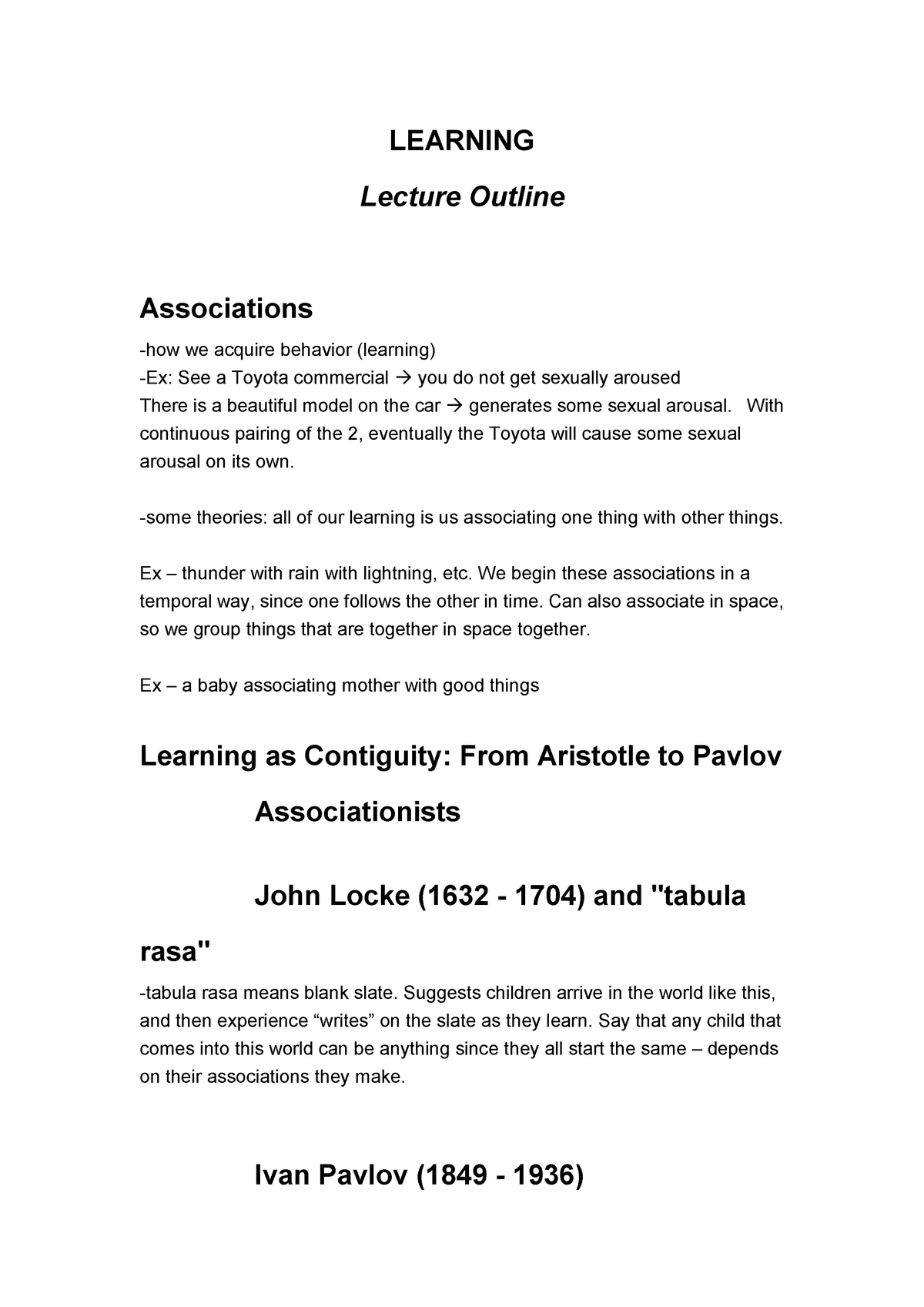 Introductory Psychology - Lecture notes - LEARNING - Psych 101
