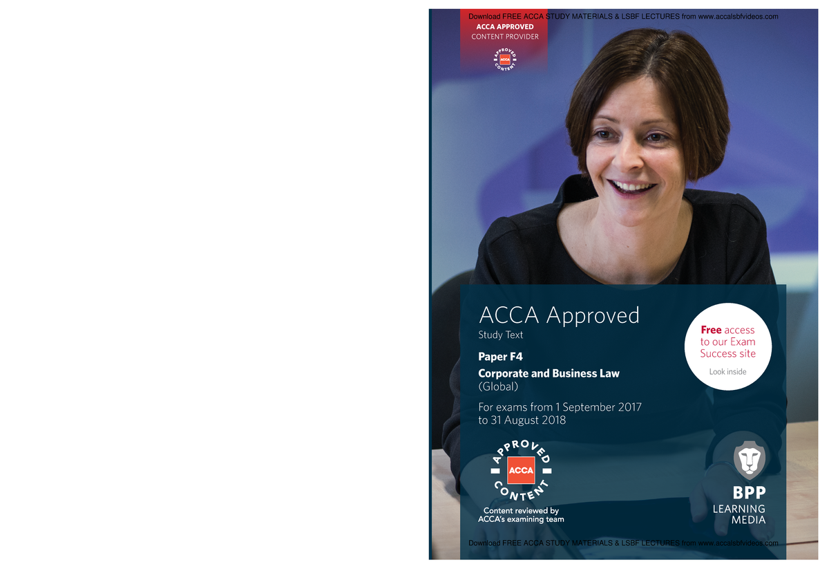 ACCA F4 Corp and Business Law GLO Study text 2018 by www