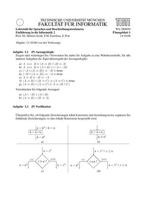 Übungen - Übung 1-13 - 0240990556: Einführung in die Informatik 2 ...