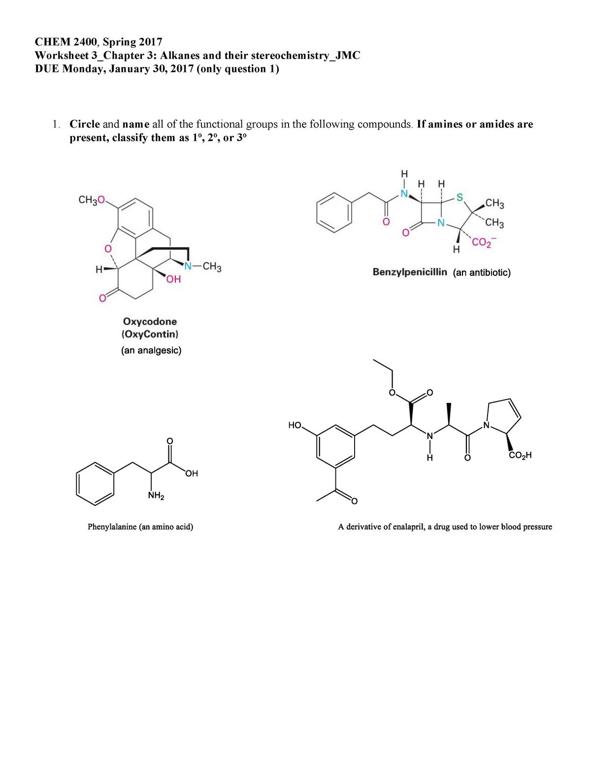 Functional Groups Organic Chemistry Worksheet