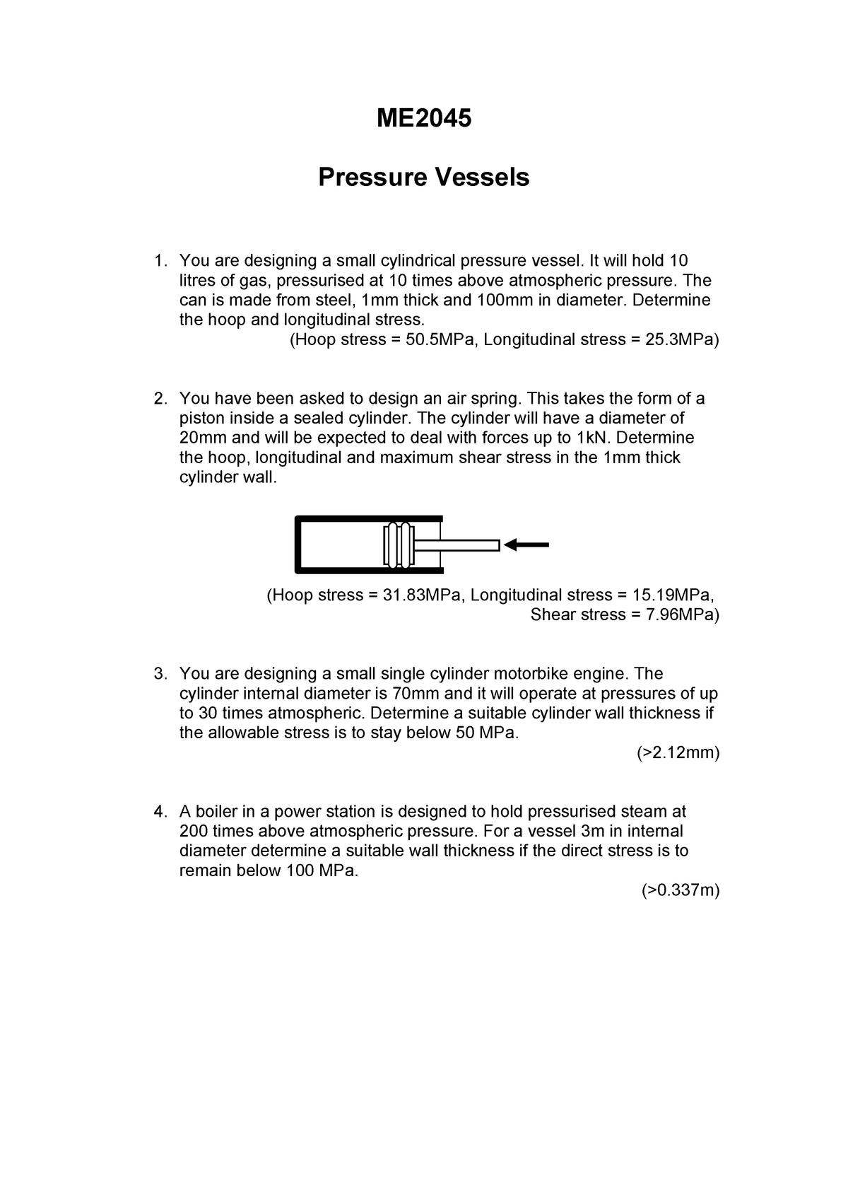 ME2045 Pressure Vessel Tutorial - ME2045: Solid Mechanics