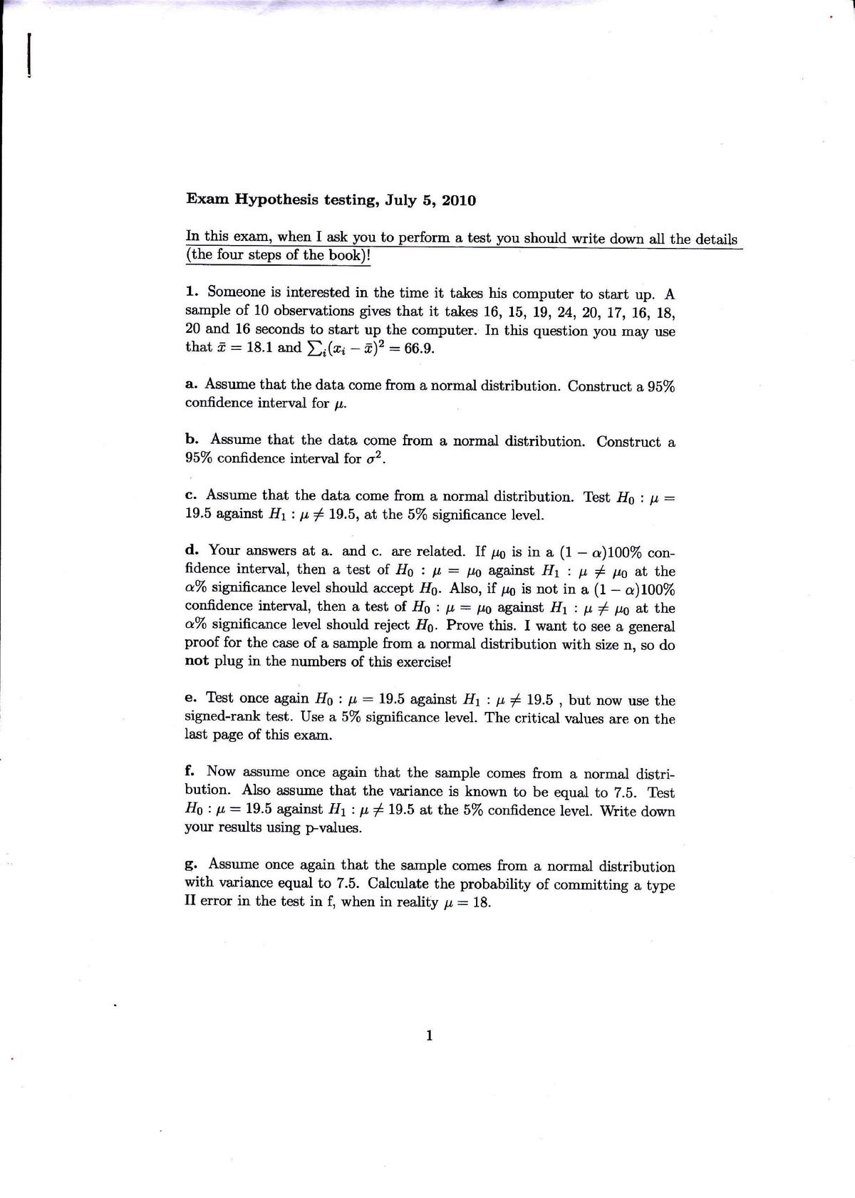 Tenta 2010 - EBP016A05 :Hypothesis Testing (oud) - StuDocu