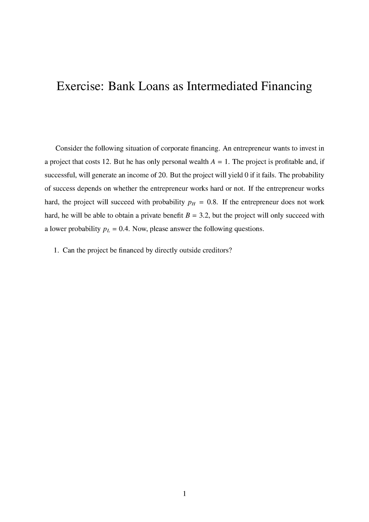 3 Exercise HT97 Questions - IB3J8: Banks and Financial