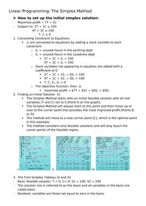 Linear Programming - Summary Quantitative Analysis for - StuDocu