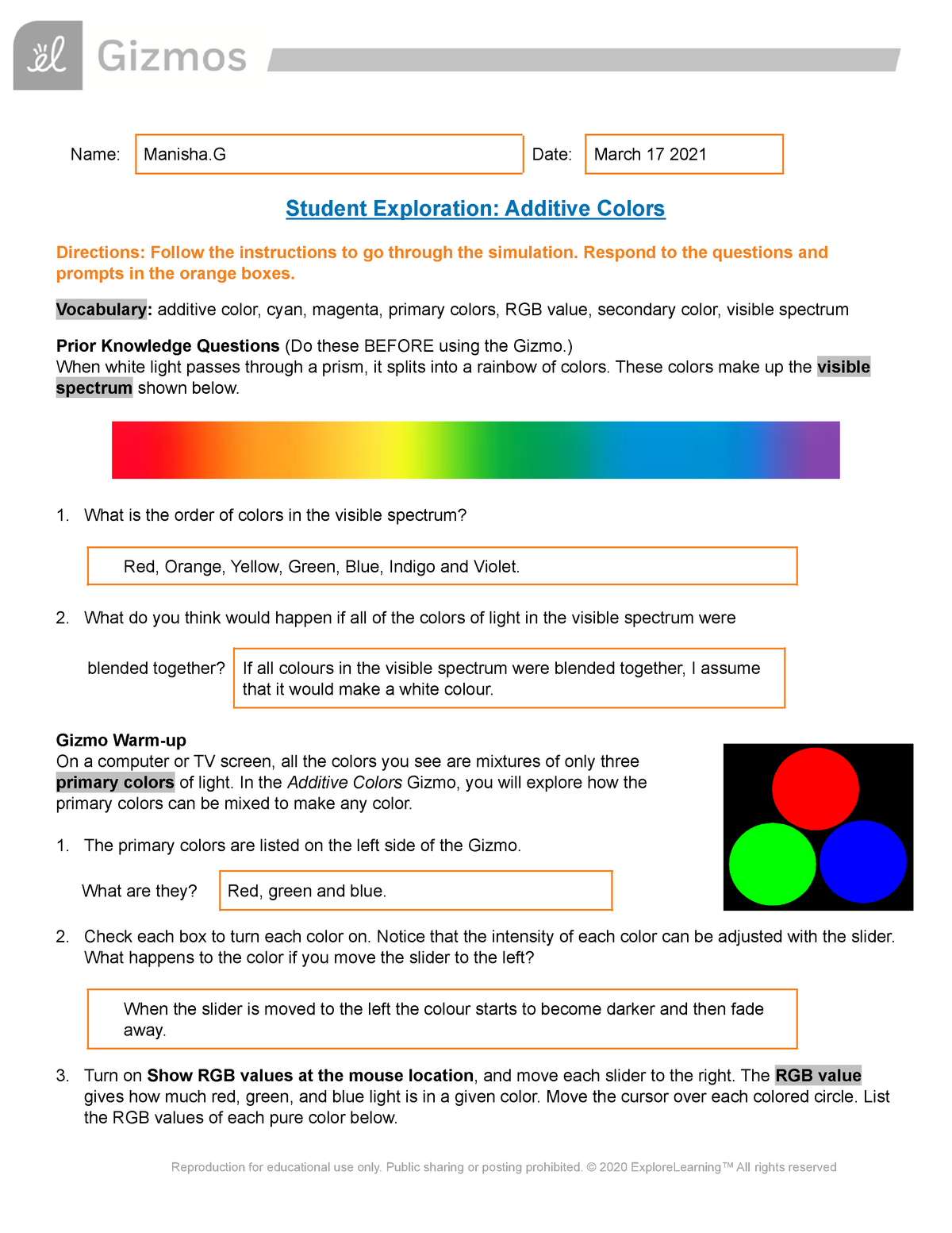 Copy Of Additiveand Subtractive Colors Se Name Manisha Date March 17 2021 Studocu
