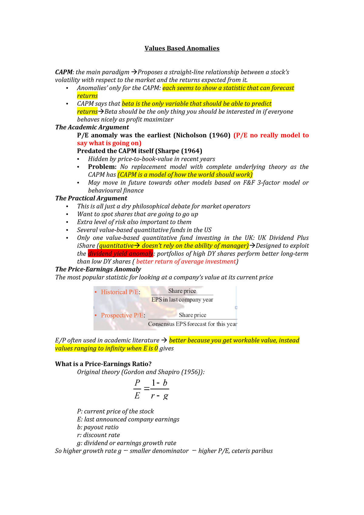 2 Values Based Anomalies - Capital Markets MAN00004H - York