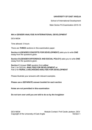 Exam   Devm Gender Analysis In International Devlopment  Exam   Devm Gender Analysis In International Devlopment  Studocu