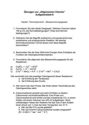 bungen thermodynamik massenwirkungsgesetz lsf89010 einfhrung in die allgemeine chemie studocu - Massenwirkungsgesetz Beispiel