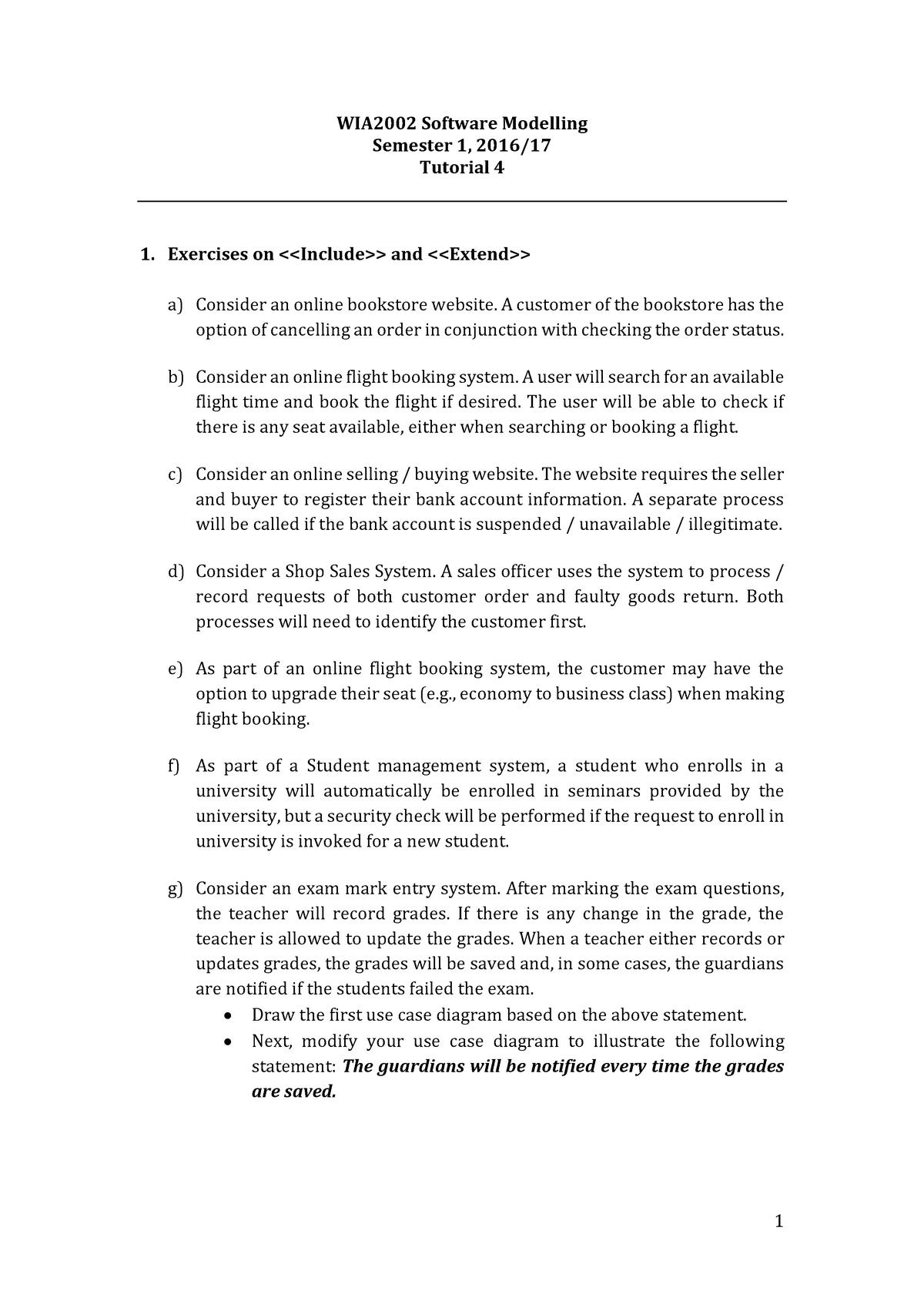 T-2002-04- Tutorial 4 - Use Case Diagram - WIA2002: Software