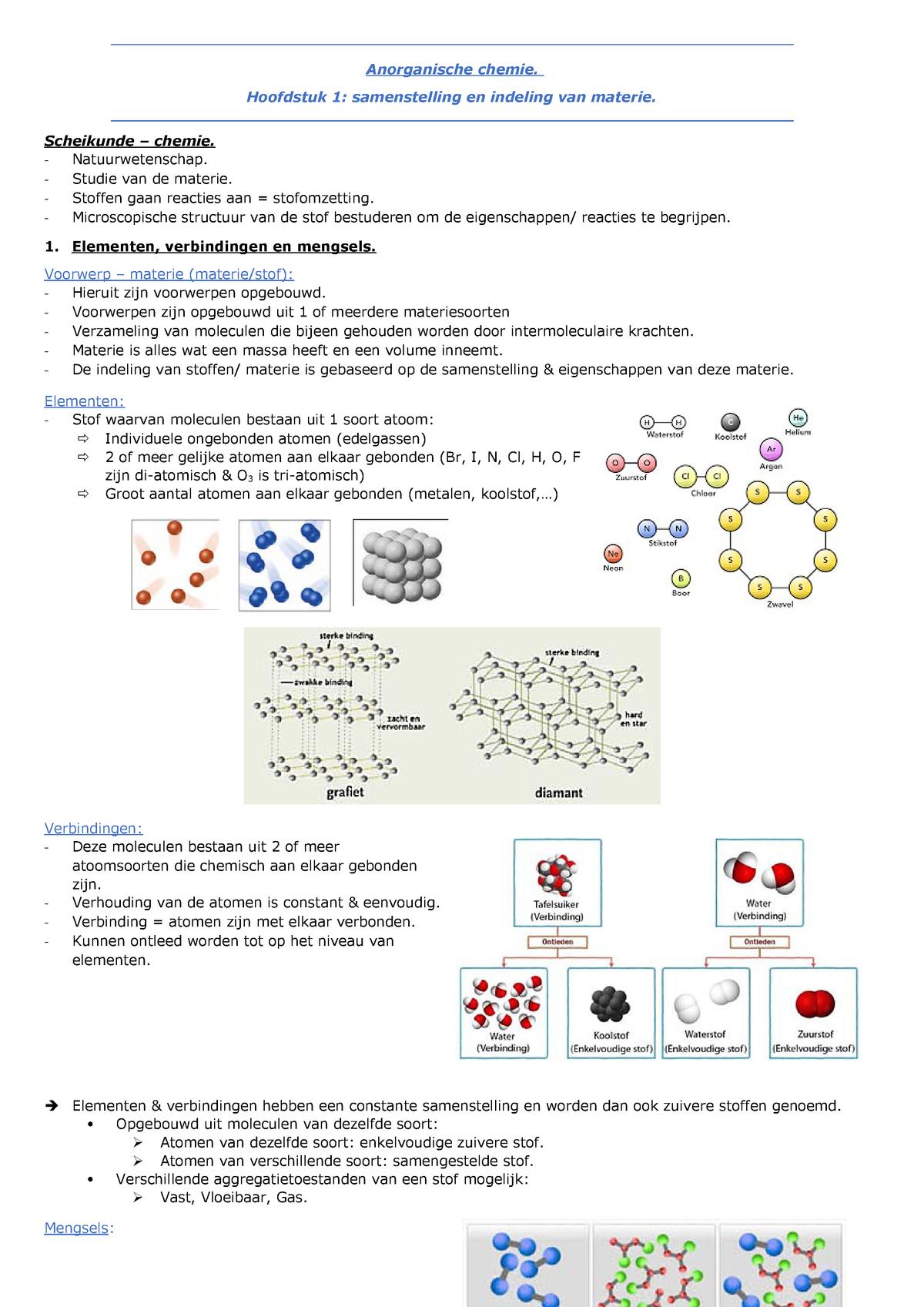 Anorganische Chemie Samenvatting Hoofdstuk 1 Z50476 Studocu