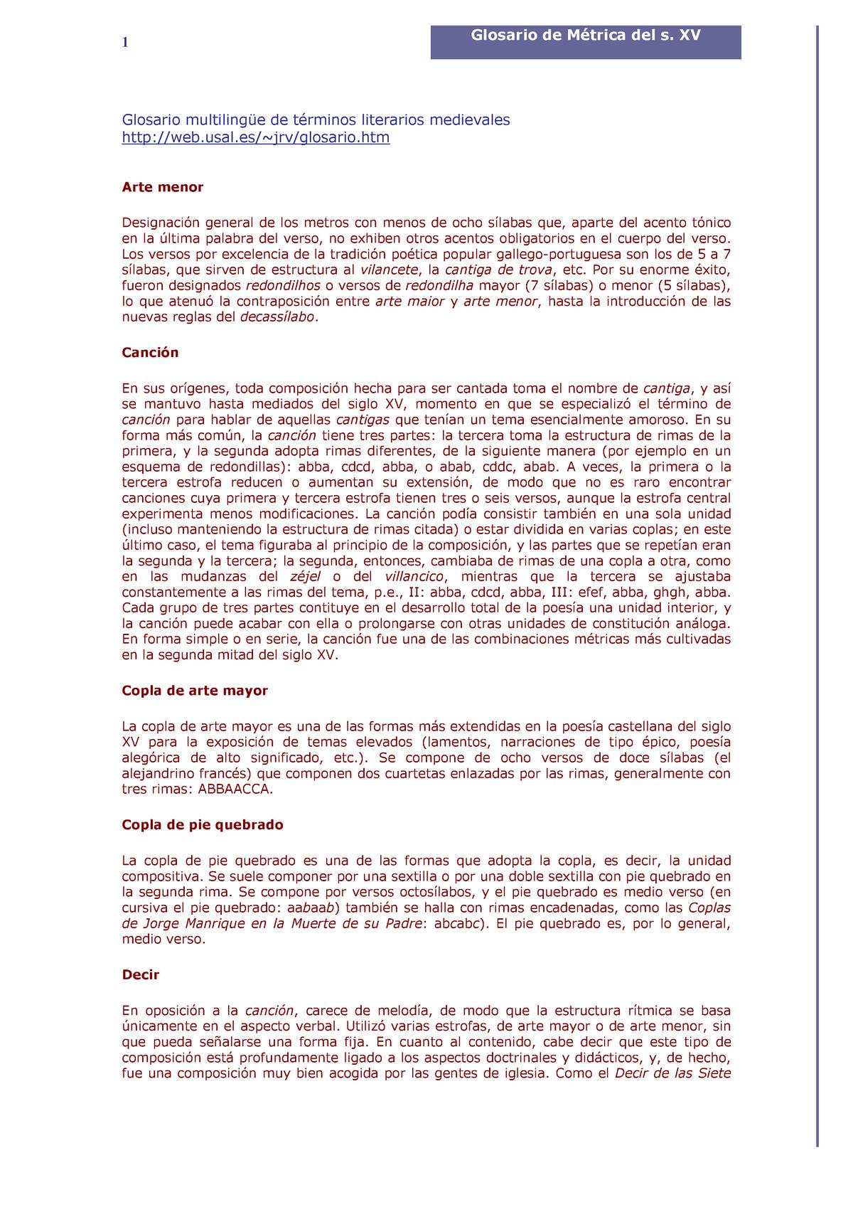 Tema 3 Métrica Glosario De Métrica Del S Xv Literatura