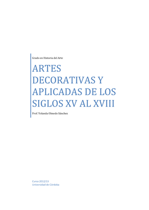Temas 1-5 Prof. Yolanda Olmedo Sánchez - 100651: Artes Decorativas y ...