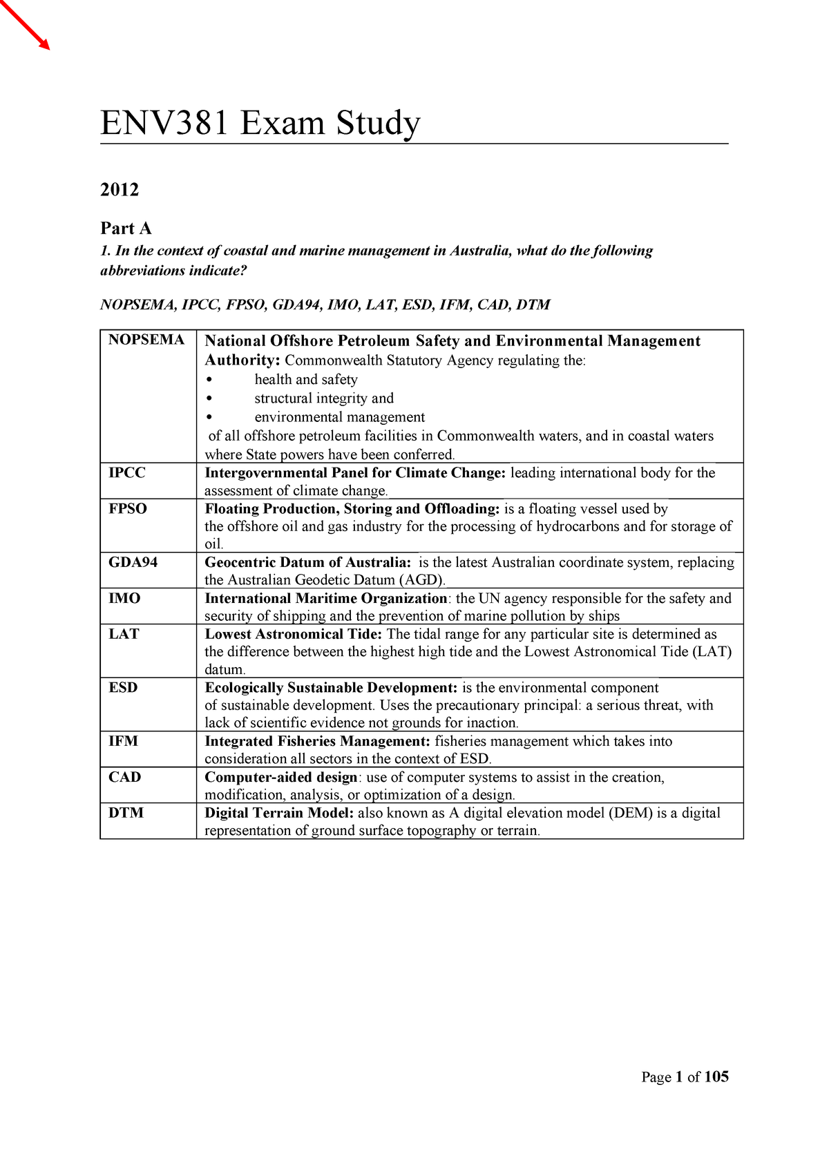 Sample/practice exam 2013, questions and answers - ENV333