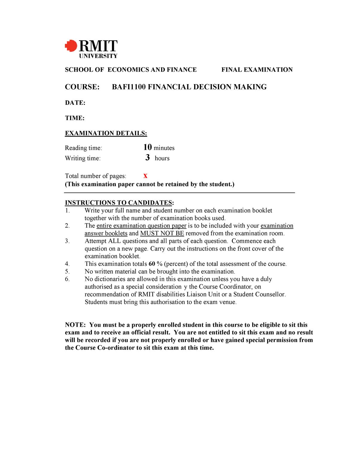 BAFI1100 guideline of final exam - BAFI2090 - StuDocu