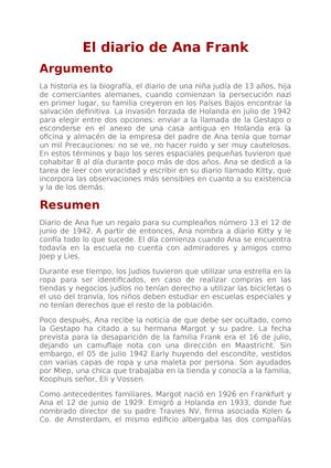 El Diario De Ana Frank Summary Library Es Studocu