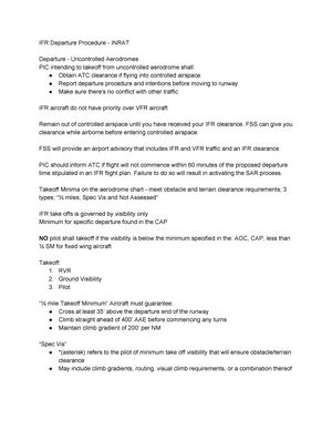 Ifr Departure Procedure Inrat Irt500 Instrument Rating Studocu