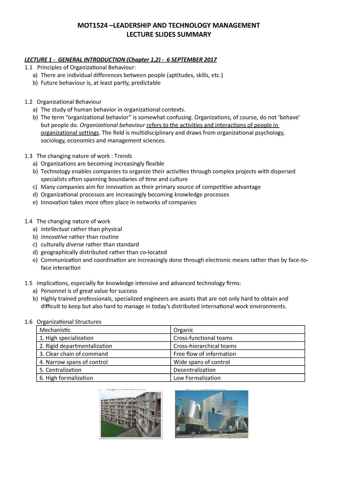 MOT1524 Leadership and Technology Management Slides Summary