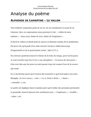 Analyse Littéraire Du Poème Le Vallon 30539 Ua Studocu