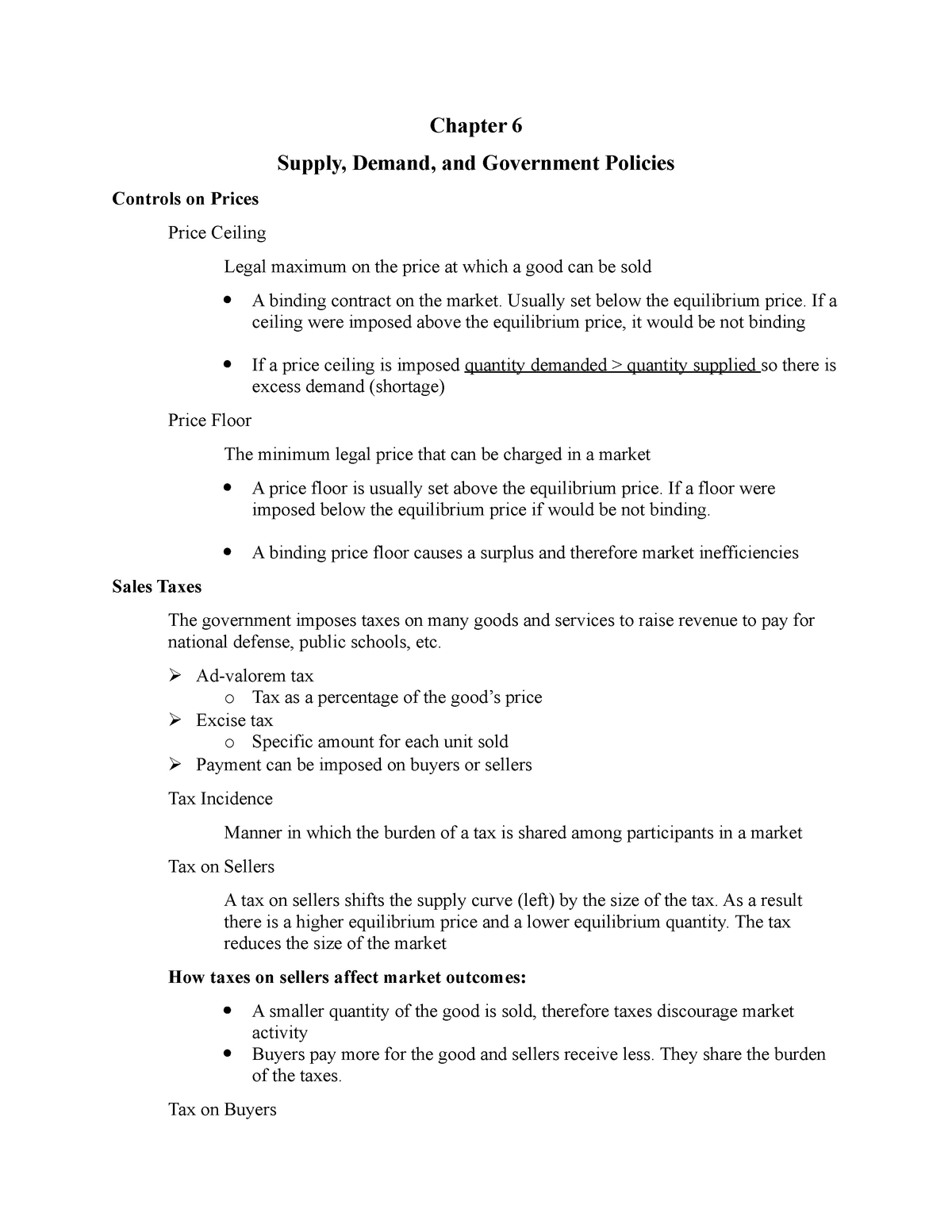 Chapter 6 Supply Demand And Gov T Policies Econ 201