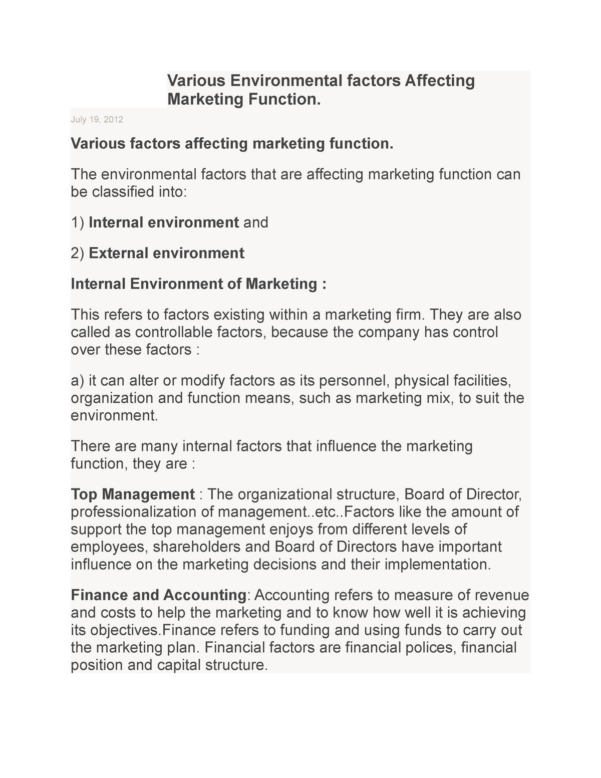 Environmental Factors As Important As >> Various Environmental Factors Affecting Marketing Bm 4100 Studocu