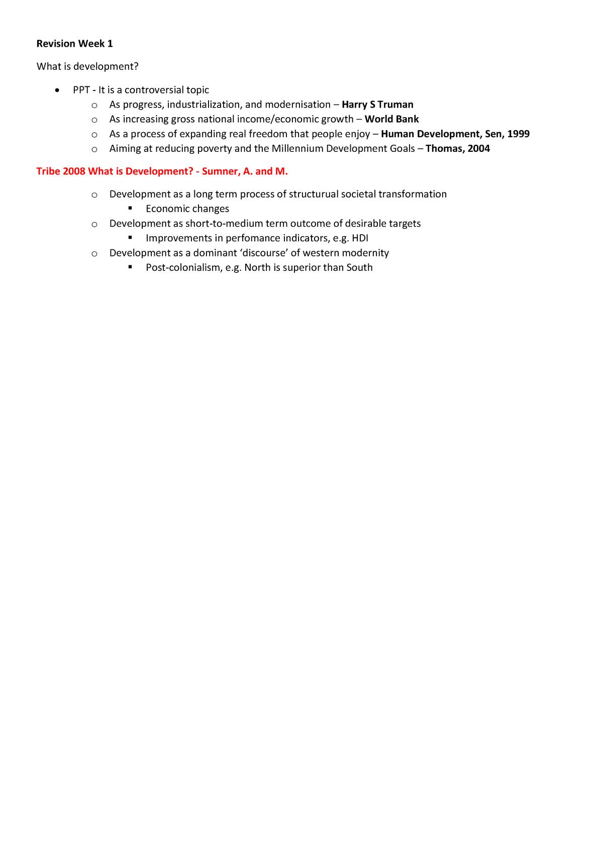 4Yyd0001 Introduction To Development Studies Exam Note - StuDocu