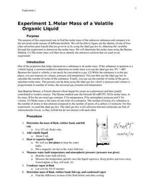 molar mass of a volatile liquid lab report answers CHEM 112 LAB #1 - Experiment #1 - Molar Mass of a Volatile Organic ...