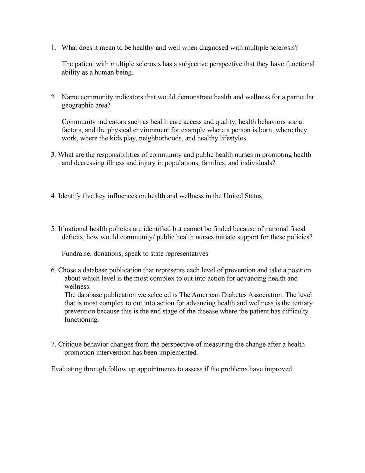 Community questions ch 5 - NUR 4040: Community Nursing - StuDocu