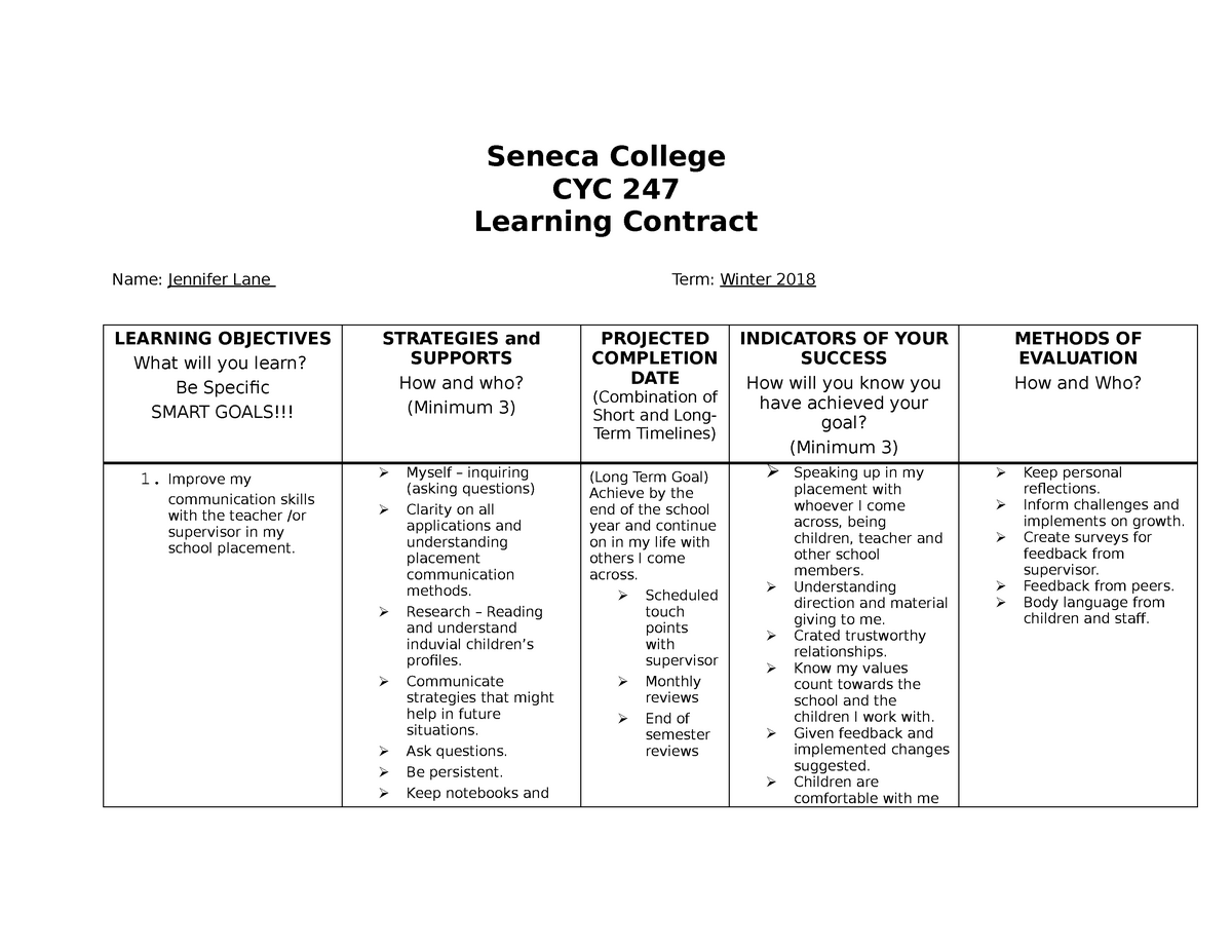 Learning Contract: Smart Goals - CYC 247 Field Work ...