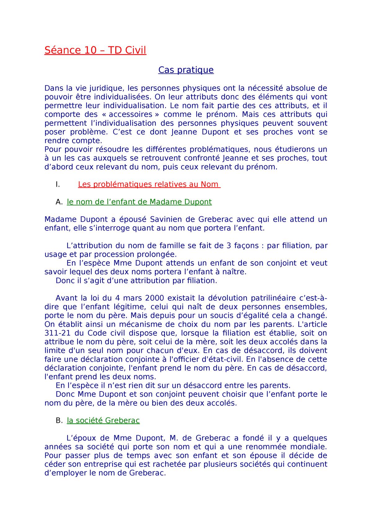 Seance 10 Td Civil Travail Perso Correction L1 Studocu