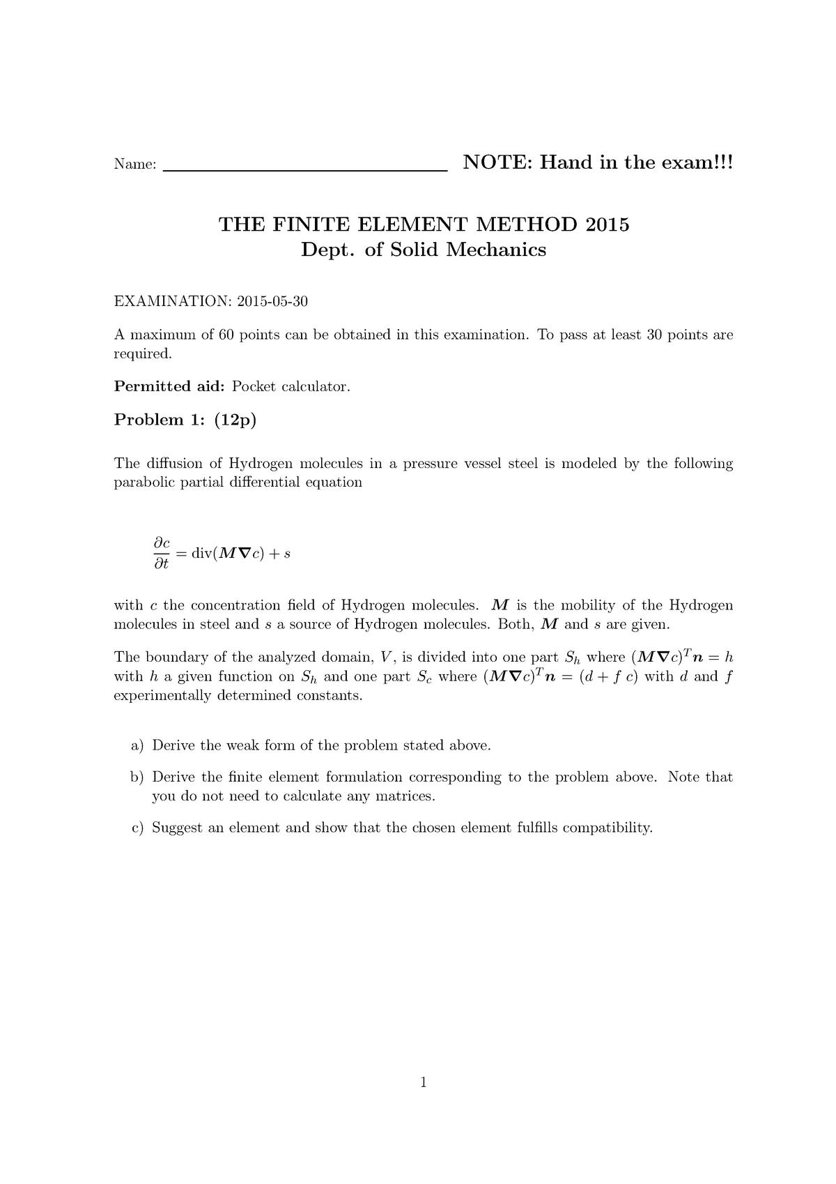 Tenta 2015 - FHLF01 :The finite element method - StuDocu
