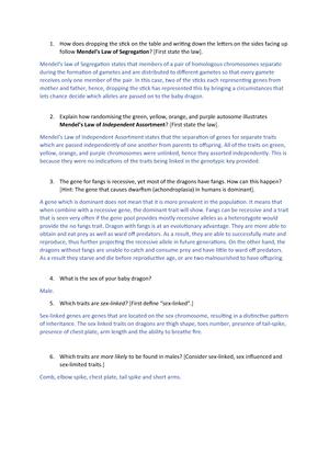 Dragon Genetics Worksheet Answer Key - Worksheet List