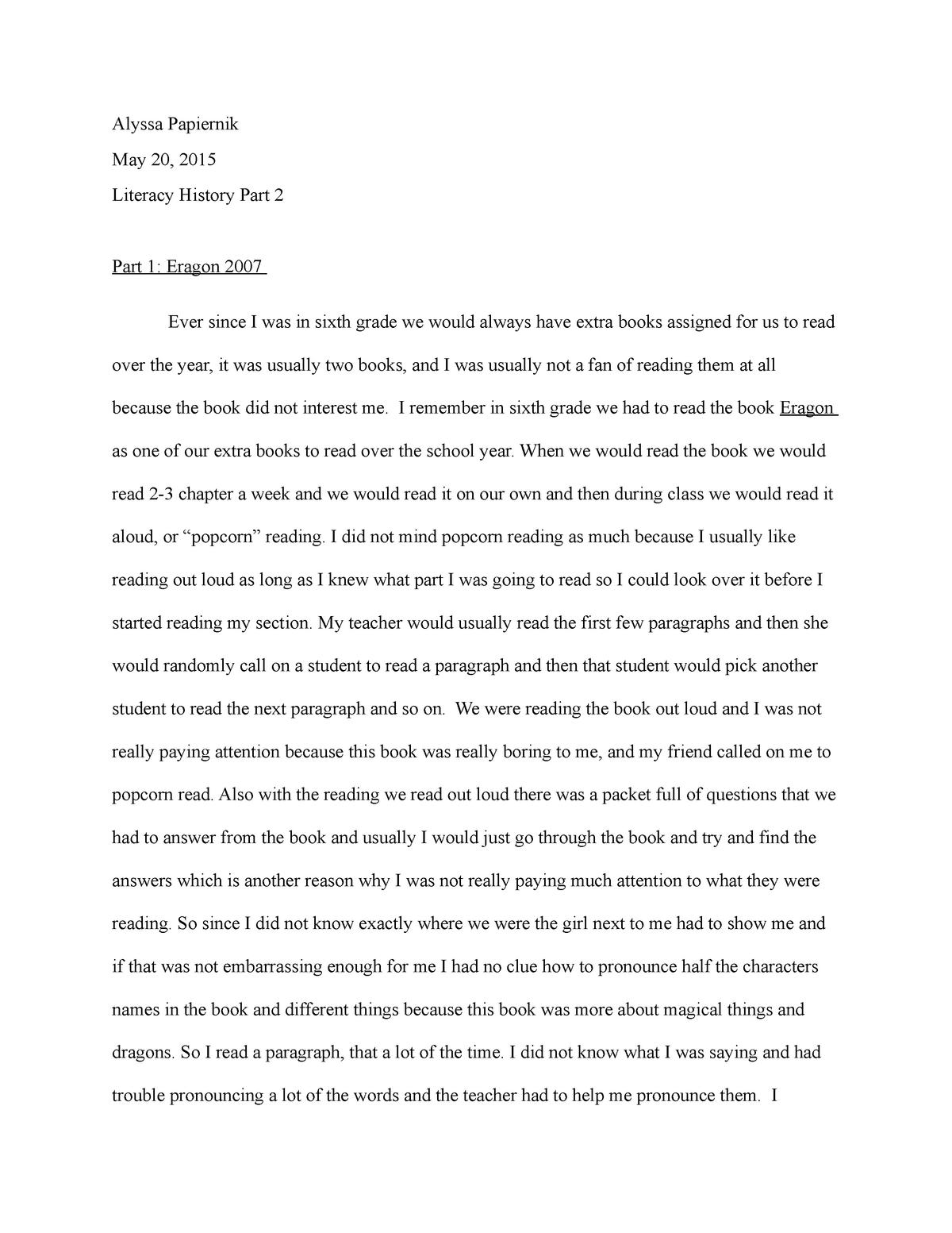 TCH 208 Literacy History part 2 - TCH 208: Literacy I