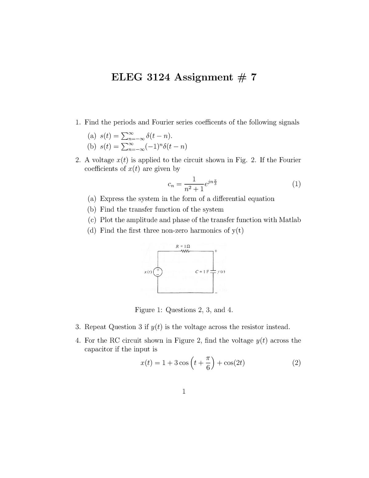 Assignment 7 - ELEG 3124 - ELEG 3124: System & Signal Analysis - StuDocu