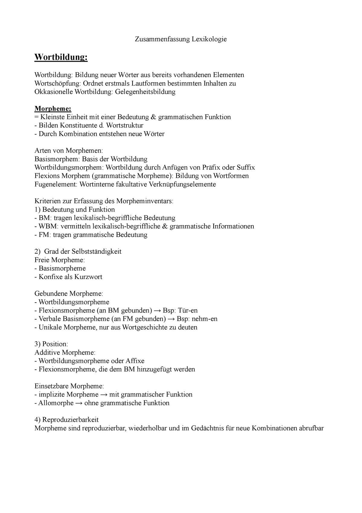Einfuhrung In Die Lexikologie Ws 18 19 90849 Studocu