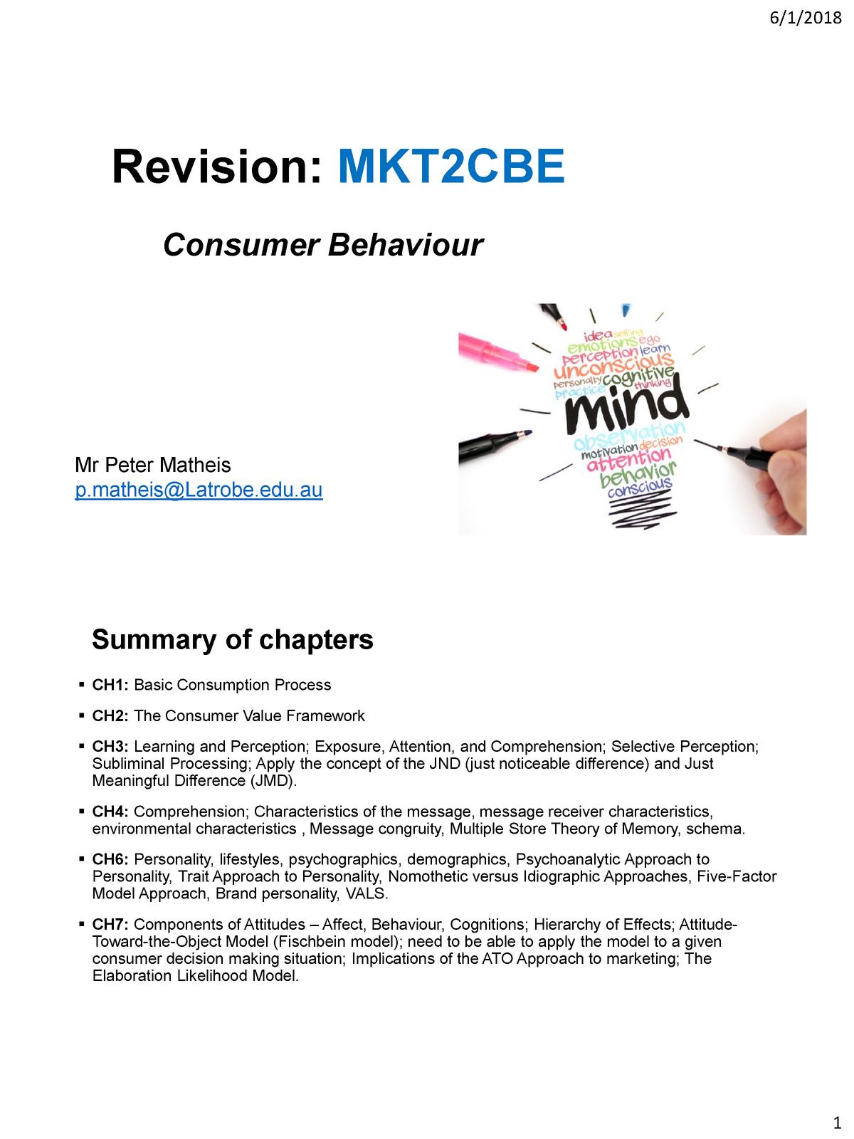 Practice Questions - Summary Consumer Behaviour - MKT2CBE